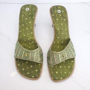 VINTAGE Embellished Square Toe Green Sandals Sz 7